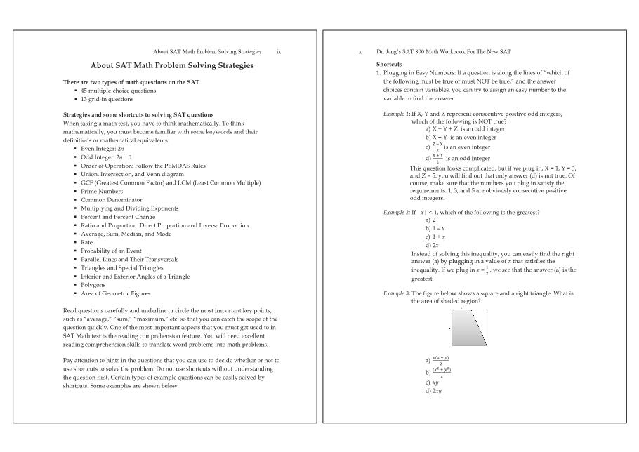 Dr. Jang\'s SAT* 800 Math WorkBook